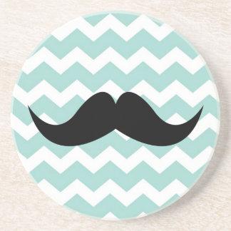 Blue chevron pattern mustache thirsty sandstone beverage coaster
