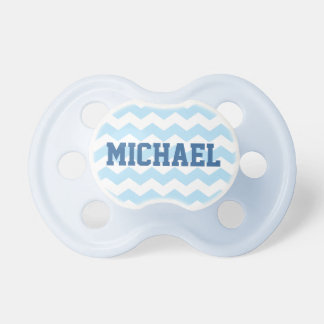 Blue Chevron Pattern Pacifier with Name