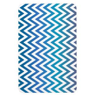 Blue chevron pattern rectangular photo magnet