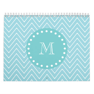 Blue Chevron Pattern | Teal Monogram Calendar