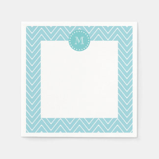 Blue Chevron Pattern | Teal Monogram Disposable Napkin