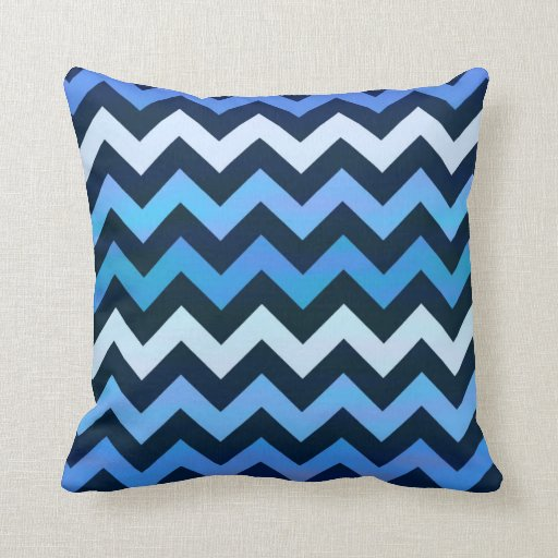 Blue Chevron Pattern Throw Pillow Zazzle