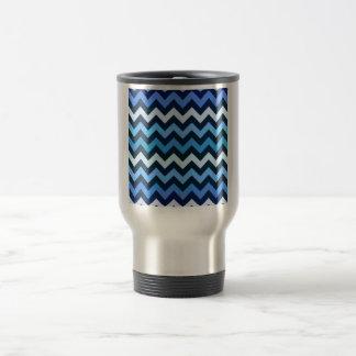 Blue Chevron Pattern Travel Mug