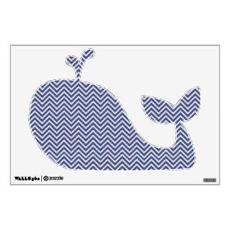 Blue Chevron Pattern Whale Wall Decal