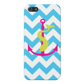 Blue chevron pattern with dolphin and anchor covers for iPhone 5