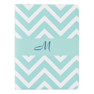 Blue chevron pattern with monogram extra large moleskine notebook