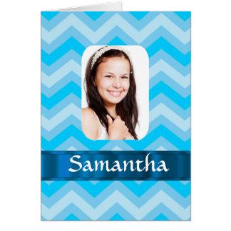 Blue chevron personalized photo template