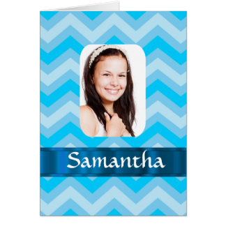 Blue chevron personalized photo template card