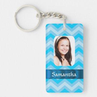 Blue chevron personalized photo template Double-Sided rectangular acrylic keychain