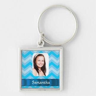 Blue chevron personalized photo template keychain