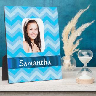 Blue chevron personalized photo template plaque