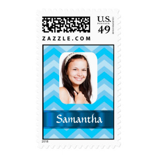 Blue chevron personalized photo template postage