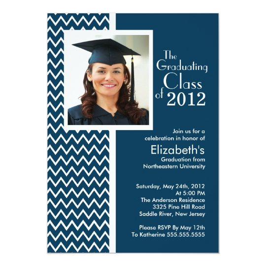 Blue Chevron Photo Graduation Party Invitation