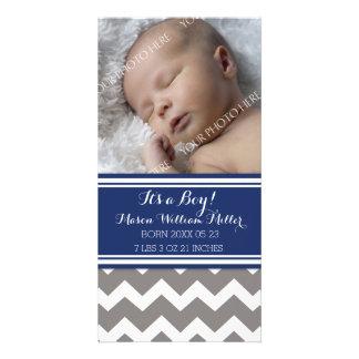 Blue Chevron Photo New Baby Birth Announcement