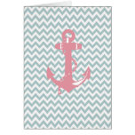 Blue Chevron Pink Nautical Anchor Stationery Note Card