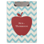 Blue Chevron Red Apple Teacher Clipboard