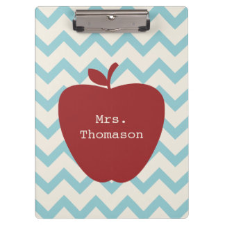 Blue Chevron Red Apple Teacher Clipboard