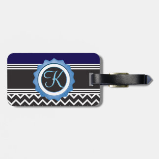 Blue Chevron Sapphire Black Monogram Bag Tag