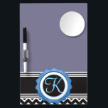 "Blue Chevron Sapphire Black Monogram Dry Erase Board With Mirror<br><div class=""desc"">Delightful Modern Trendy Stylish Chic Design with Sapphire Blue Black White Chevron Zigzag Stripes and gothic black Color name plate with Custom Personalized Monogram Name or Initial All images and artwork &#169;allmonograms store. Very easy to customize and change the initial or add a name on the monogram so it can...</div>"