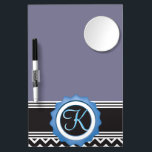 """Blue Chevron Sapphire Black Monogram Dry Erase Board With Mirror<br><div class=""""desc"""">Delightful Modern Trendy Stylish Chic Design with Sapphire Blue Black White Chevron Zigzag Stripes and gothic black Color name plate with Custom Personalized Monogram Name or Initial All images and artwork &#169;allmonograms store. Very easy to customize and change the initial or add a name on the monogram so it can...</div>"""