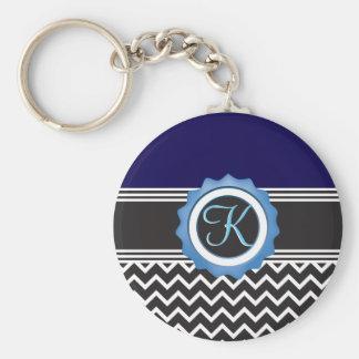Blue Chevron Sapphire Black Monogram Keychain