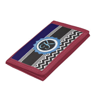 Blue Chevron Sapphire Black Monogram Tri-fold Wallets