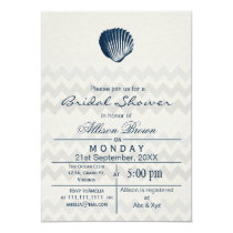 Blue Chevron Seashell Beach bridal shower Invites