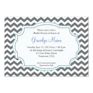 """Blue Chevron Shower Invitation 5"""" X 7"""" Invitation Card"""
