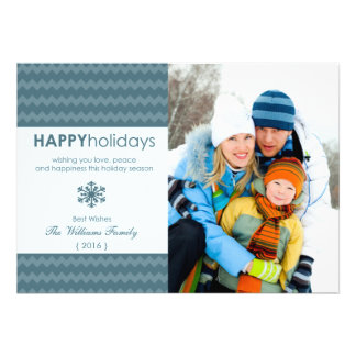 Blue Chevron Snowflake Holiday Flat Card