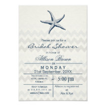 Blue Chevron Starfish Beach bridal shower Invites