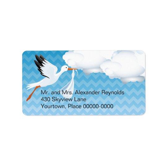 Blue Chevron Stork Baby Delivered Return Address Label