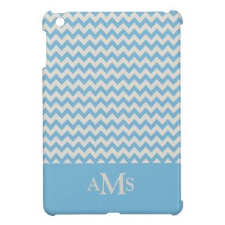 Blue Chevron Stripe 3  Monogram iPad Mini Case