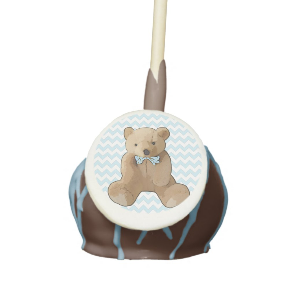 Blue Chevron Striped Teddy Bear Cake Pop