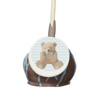 Blue Chevron Striped Teddy Bear Cake Pop