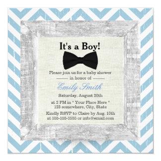 Blue Chevron Stripes Bow Tie Boy Baby Shower Card