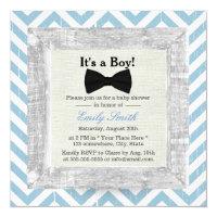 Blue Chevron Stripes Bow Tie Boy Baby Shower 5.25x5.25 Square Paper Invitation Card