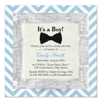 Blue Chevron Stripes Bow Tie Boy Baby Shower Invitation