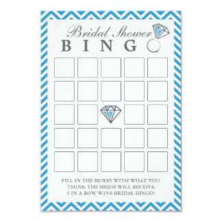 Blue Chevron Stripes Bridal Shower Bingo Cards