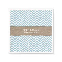 Blue Chevron Stripes Burlap Ribbon Rustic Wedding Paper Napkin