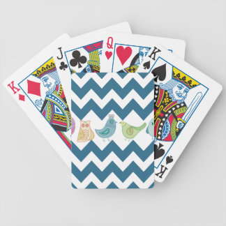 Blue Chevron Stripes Whimsical Cute Birds Owls Bicycle Playing Cards