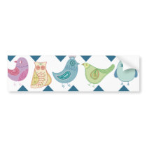 Blue Chevron Stripes Whimsical Cute Birds Owls Bumper Sticker