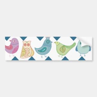 Blue Chevron Stripes Whimsical Cute Birds Owls Bumper Sticker