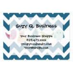 Blue Chevron Stripes Whimsical Cute Birds Owls Large Business Cards (Pack Of 100)
