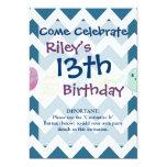 Blue Chevron Stripes Whimsical Cute Birds Owls 5x7 Paper Invitation Card