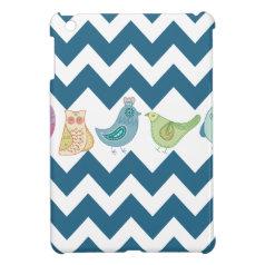 Blue Chevron Stripes Whimsical Cute Birds Owls iPad Mini Cover