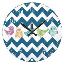 Blue Chevron Stripes Whimsical Cute Birds Owls Large Clock