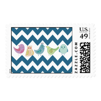 Blue Chevron Stripes Whimsical Cute Birds Owls Postage Stamp