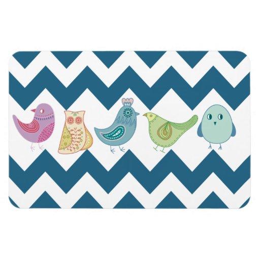 Blue Chevron Stripes Whimsical Cute Birds Owls Magnet