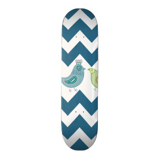 Blue Chevron Stripes Whimsical Cute Birds Owls Skate Board