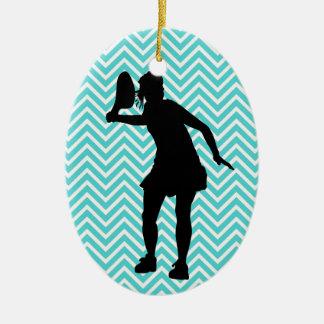 Blue Chevron Tennis Christmas Ornament for Girls